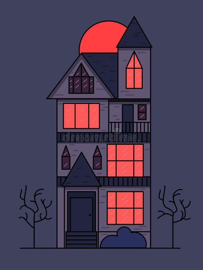 Viktorianskt hus på natten på bakgrunden av månen royaltyfri illustrationer
