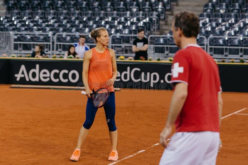 Viktorija Golubic training at Fed Cup 2018 royalty free stock photo