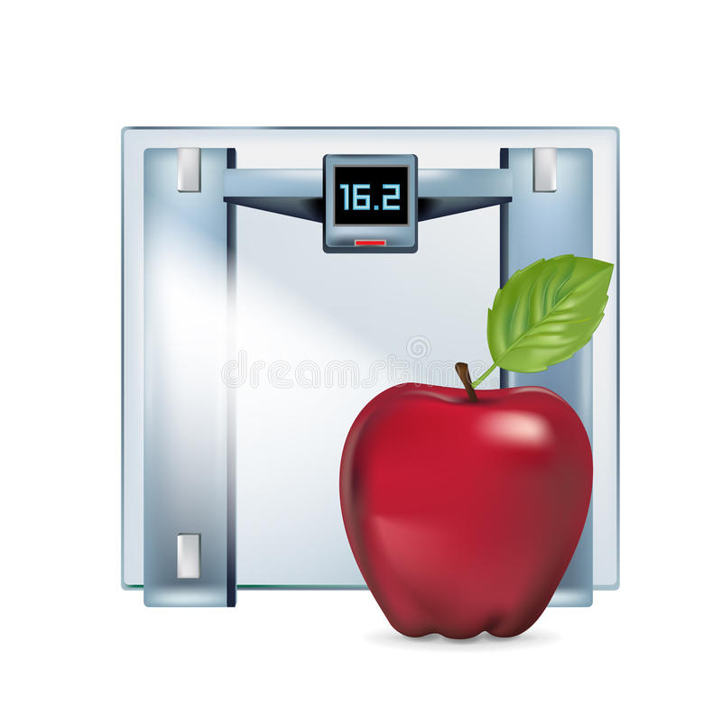 Viktskala med det isolerade röda äpplet royaltyfri illustrationer