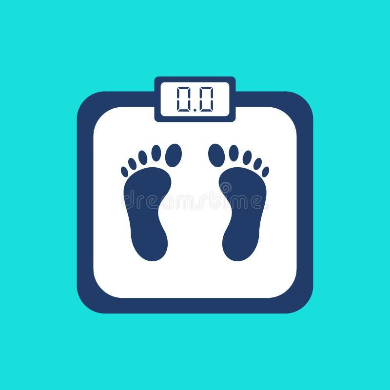 Viktskala med fottrycket och elektronisk skärm som isoleras på blå bakgrund Symbol för badrumvåg i modern plan stil hälsa stock illustrationer