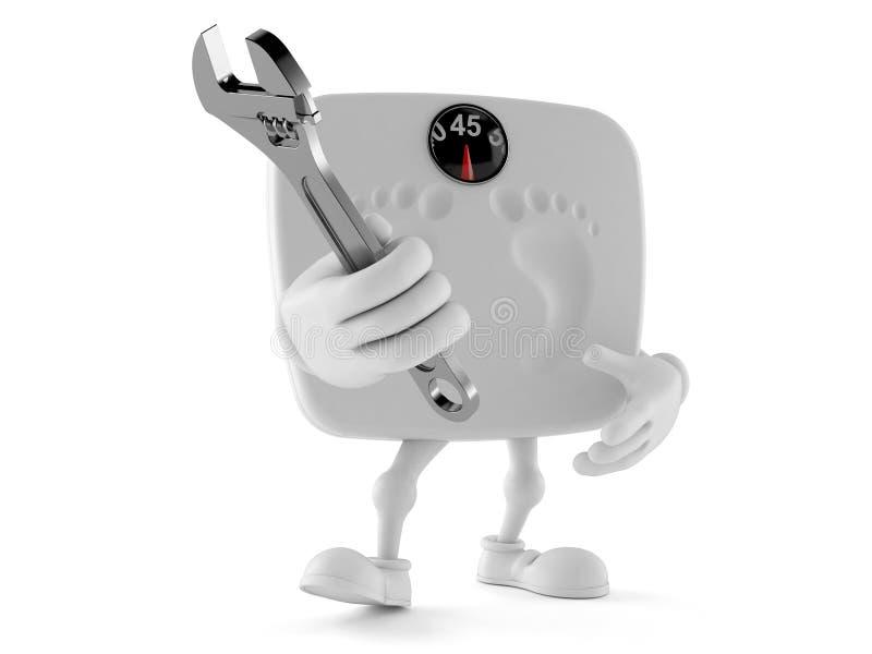 Viktskalatecken som rymmer den justerbara skiftnyckeln stock illustrationer