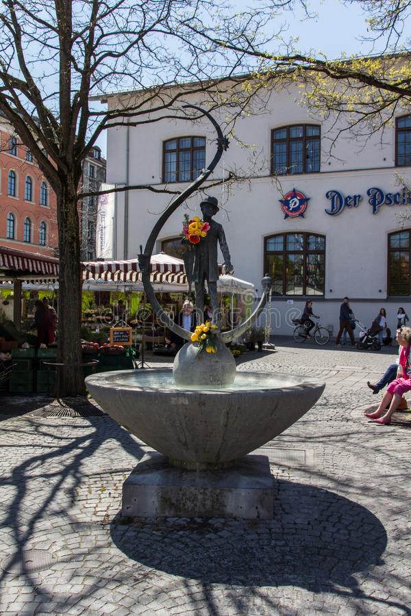 Viktualienmarkt in München, Beieren, Duitsland, 2015 royalty-vrije stock foto
