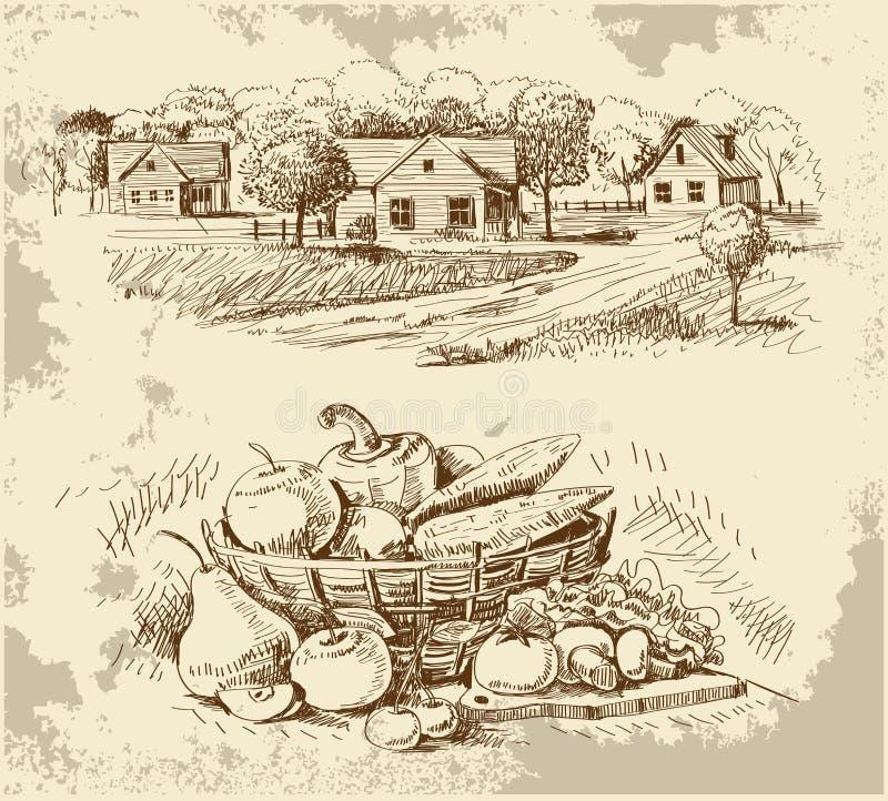 A vila abriga o esboço com alimento ilustração do vetor