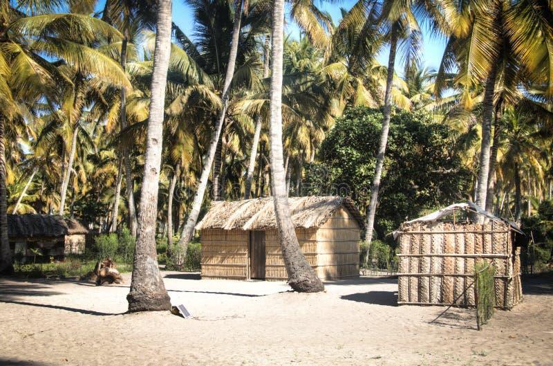 Vila africana entre palmeiras em Tofo fotografia de stock royalty free