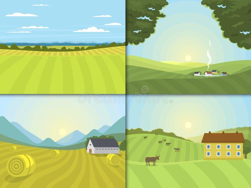A vila ajardina o campo de exploração agrícola da ilustração do vetor e abriga o lado gráfico do país da agricultura ilustração royalty free