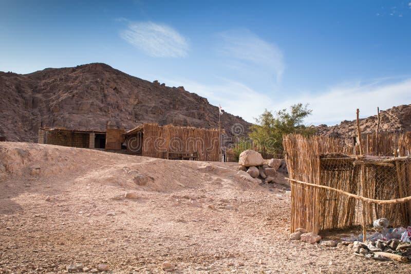 Vila beduína no deserto, Egito imagem de stock