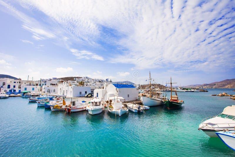 Vila bonita de Naousa, ilha de Paros, Cyclades, Grécia foto de stock royalty free