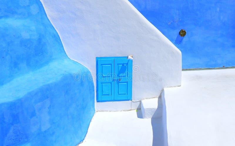 Vila branca azul típica de Oia da casa em Santorini Grécia, cyclades foto de stock