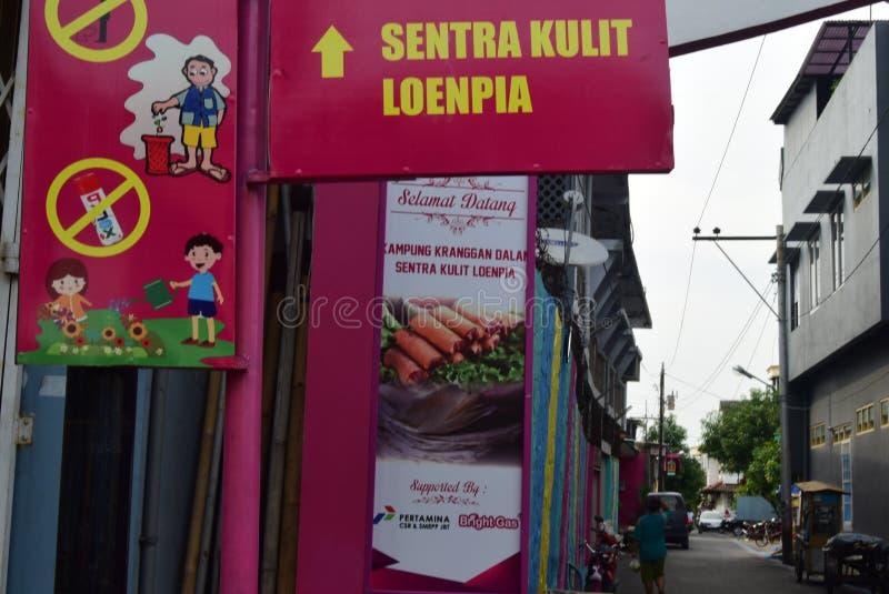 Vila brilhante do gás na cidade de Semarang imagens de stock