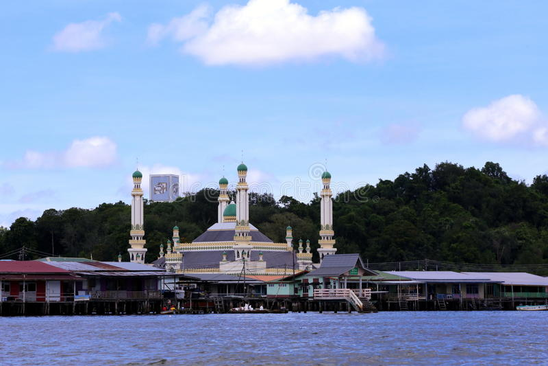 Vila Brunei Darussalam da água de Ayer do Kampong fotografia de stock