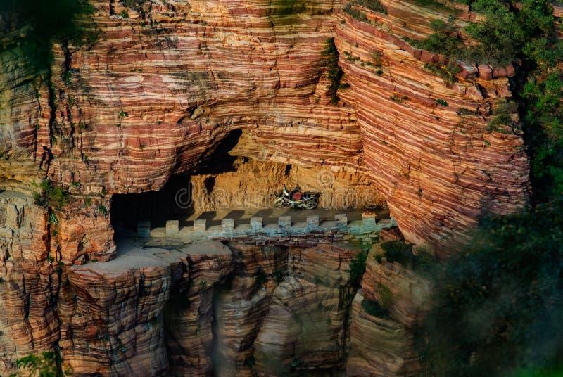 Vila China da vala da vala de dez desfiladeiros nenhum desfiladeiro do dia na estrada da parede da cidade de Xingtai da província imagem de stock royalty free