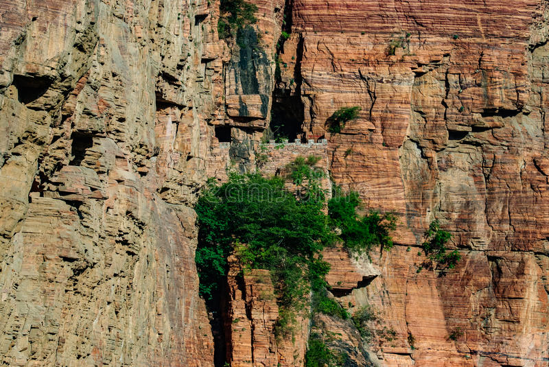 Vila China da vala da vala de dez desfiladeiros nenhum desfiladeiro do dia na estrada da parede da cidade de Xingtai da província fotos de stock royalty free
