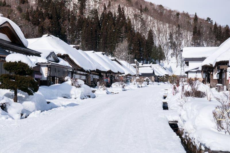 Vila cobrida com sapê de Ouchi Juku da casa do telhado, Fukushima, Tohoku, Japão fotos de stock