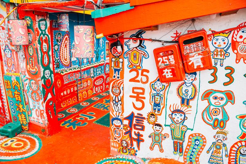 Vila colorida do arco-íris em Taichung, Taiwan fotos de stock