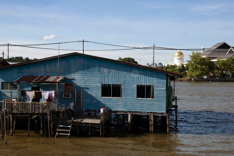Vila da água - Brunei Darussalam imagem de stock