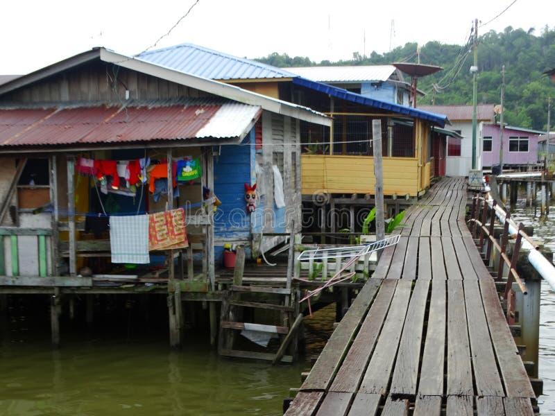 A vila da água ou o Kampung Ayer - vila na água em Bandar Seri Begawan, Brunei Darussalam fotos de stock royalty free