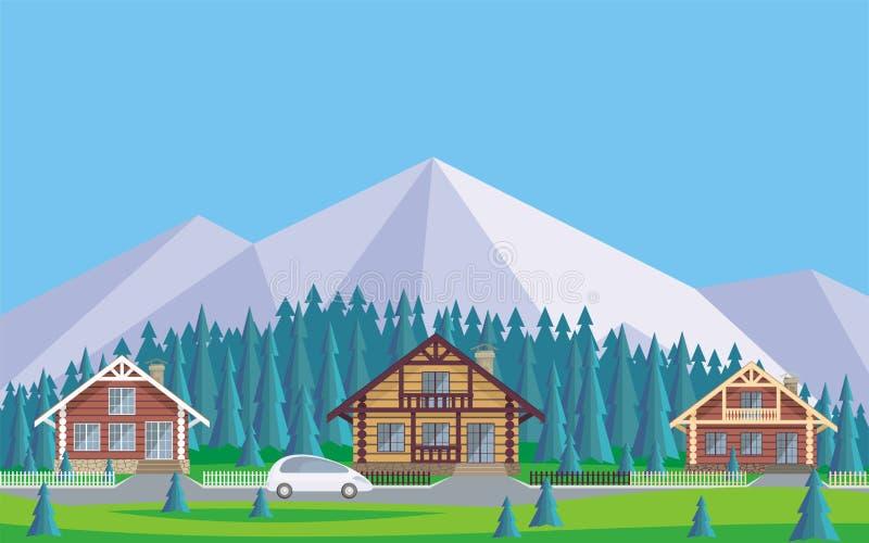 a vila da casa de campo ilustração stock