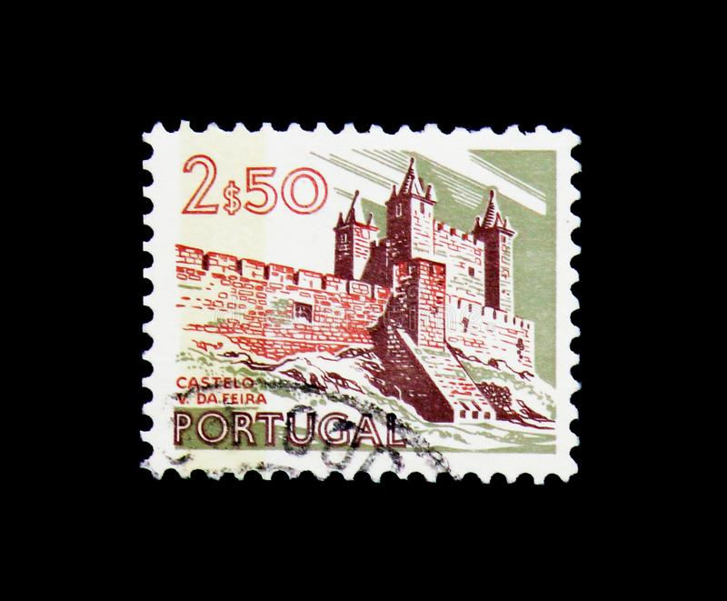 Vila da Feira Castle, Landscapes and Monuments serie, circa 1973. MOSCOW, RUSSIA - NOVEMBER 24, 2017: A stamp printed in Portugal shows Vila da Feira Castle royalty free stock photo