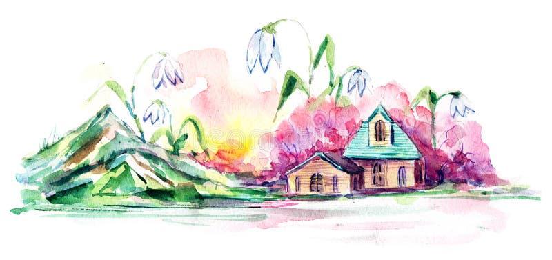 Vila da mola ilustração do vetor