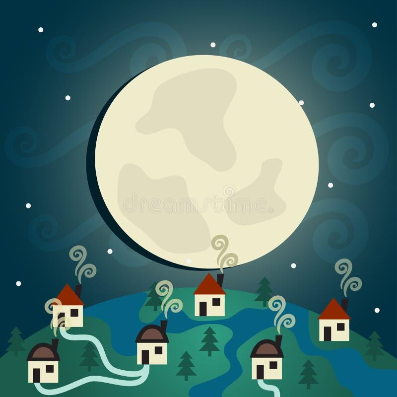 Vila da noite ilustração stock