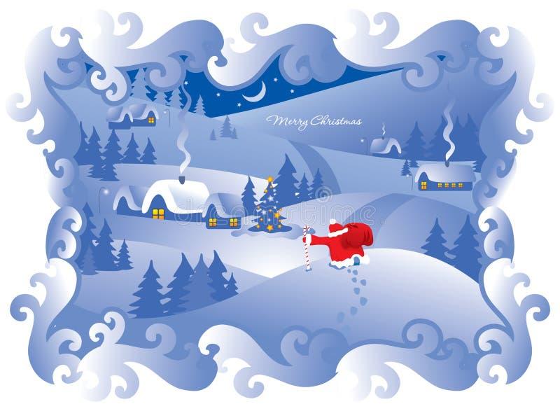 Vila da noite de Natal. Vetor. ilustração do vetor