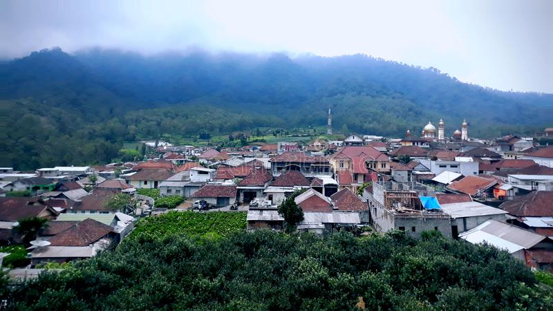 Vila da vista em Cangar, Batu, East Java, Indonésia fotos de stock