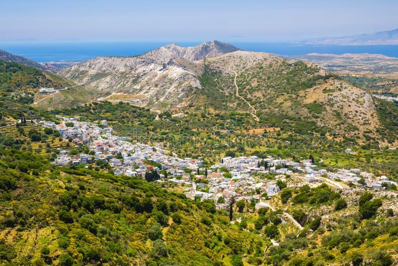 Vila de Chalki, ilha de Naxos, Cyclades, egeus, Grécia imagem de stock