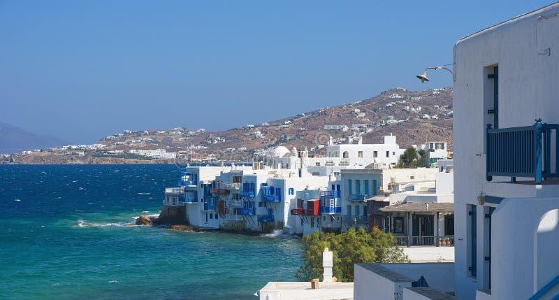 Vila de Chora pouca ilha de Veneza - de Mykonos Cyclades - Mar Egeu - Grécia fotografia de stock royalty free