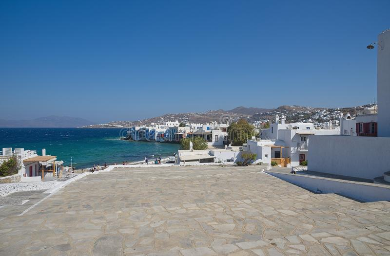 Vila de Chora pouca ilha de Veneza - de Mykonos Cyclades - Mar Egeu - Grécia fotos de stock