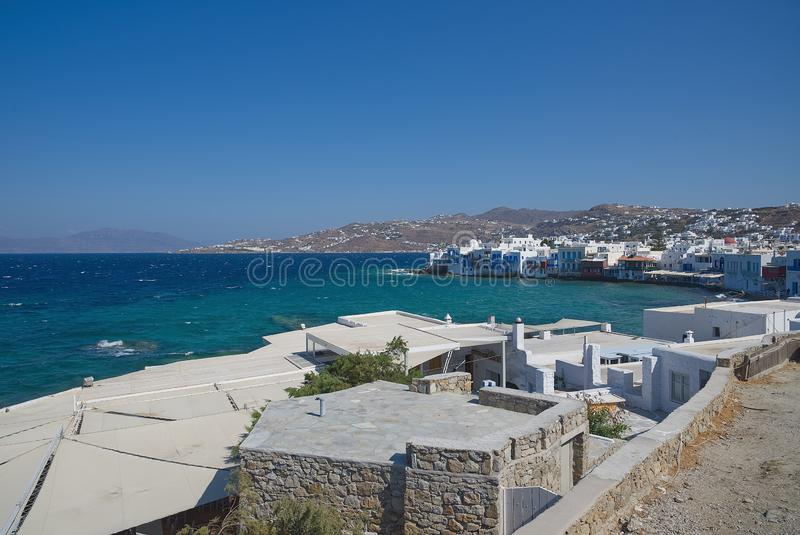 Vila de Chora pouca ilha de Veneza - de Mykonos Cyclades - Mar Egeu - Grécia foto de stock