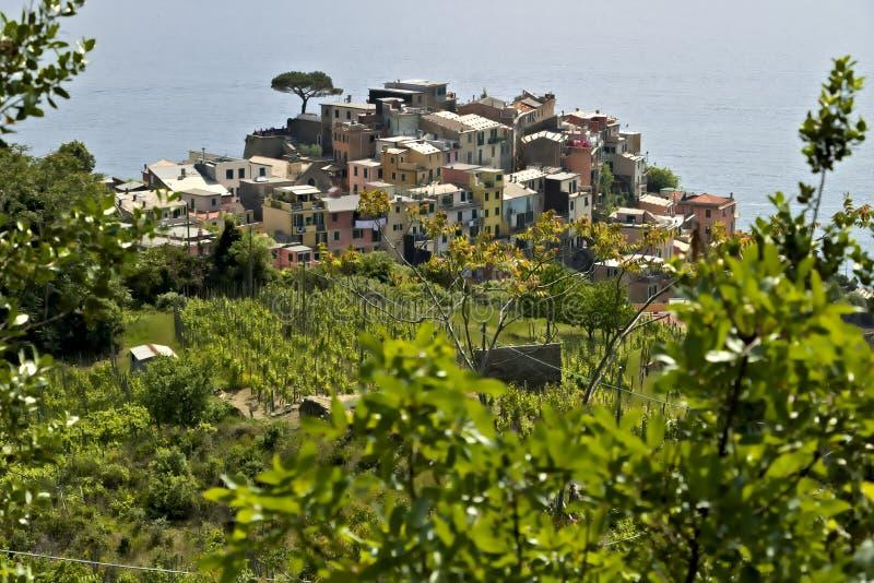 A vila de Corniglia, Cinque Terre vista de um trajeto no monte que negligencia o mar fotografia de stock royalty free