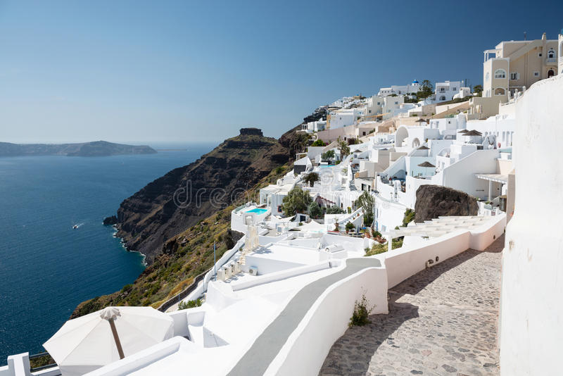 Vila de Firostefani, Santorini, Grécia imagens de stock