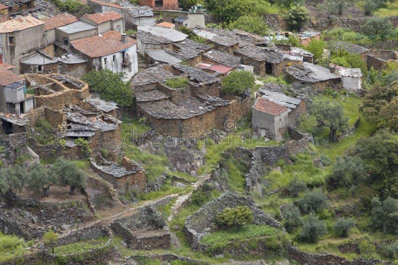 Vila de Fragosa do La em Las Hurdes, Extremadura fotos de stock
