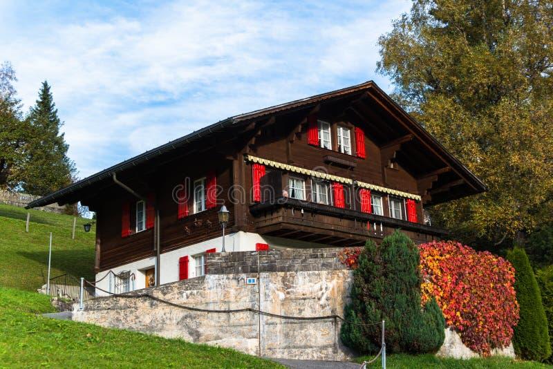 Vila de Grindelwald, Switzerland foto de stock
