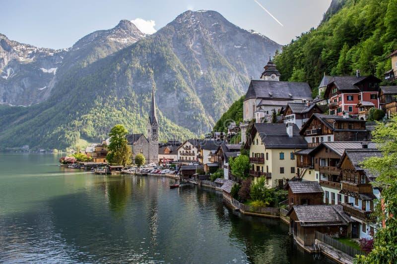 Vila de Hallstat, Áustria fotos de stock royalty free