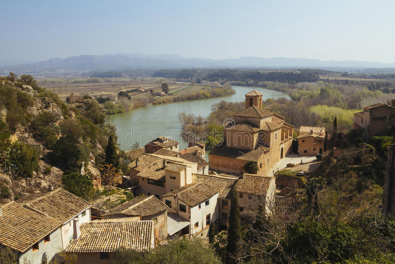 Vila de Miravet em Catalunya, Espanha fotos de stock