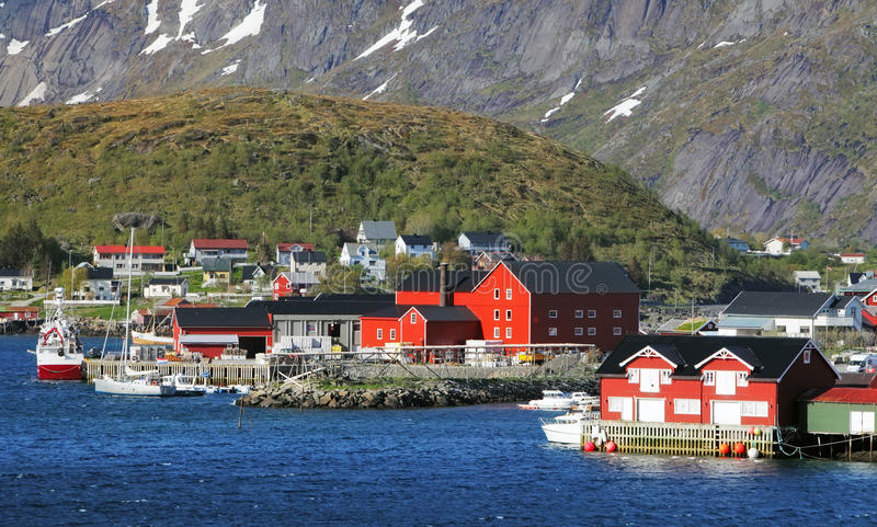 Vila de Noruega com montanha - Lofoten, Reine fotografia de stock