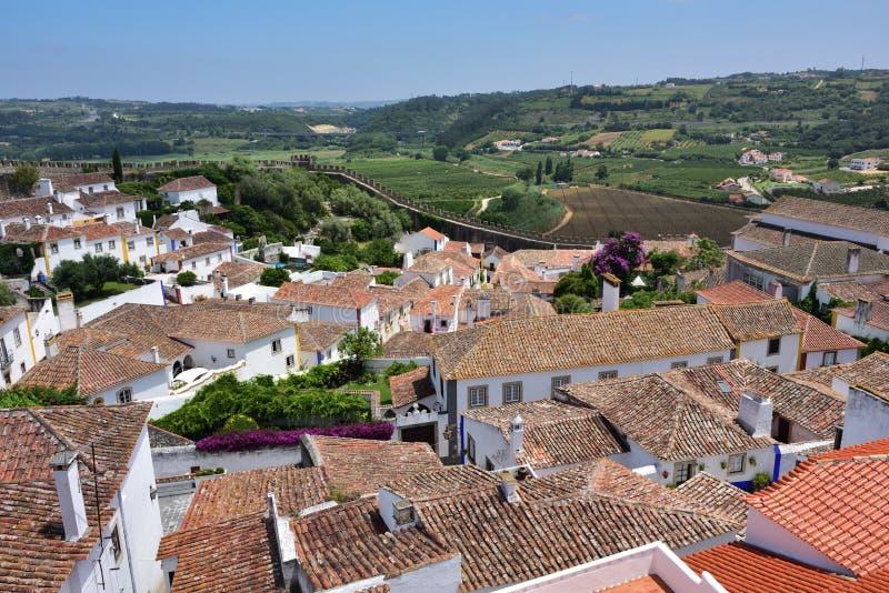 Vila de Obidos e seu castelo Portugal imagens de stock royalty free