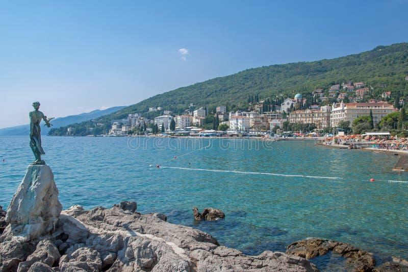 Opatija, mar de adriático, Istria, Croatia imagem de stock royalty free