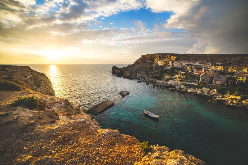 Vila de Popeye, Malta imagem de stock royalty free