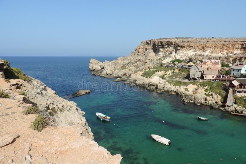 Vila de Popeye, Malta imagens de stock royalty free
