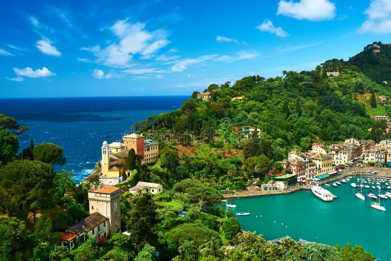 Vila de Portofino na costa Ligurian, Itália foto de stock