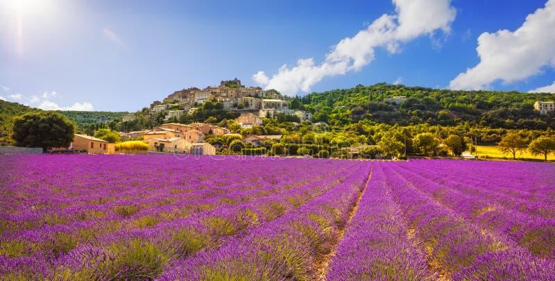 Vila de Rotonde do la de Simiane e panorama da alfazema Provence fotografia de stock royalty free