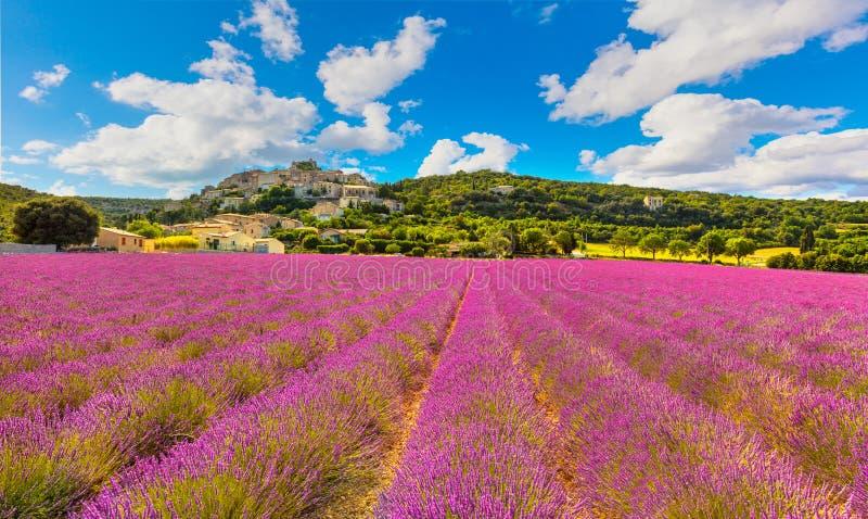 Vila de Rotonde do la de Simiane e panorama da alfazema Provence, Fran fotografia de stock royalty free