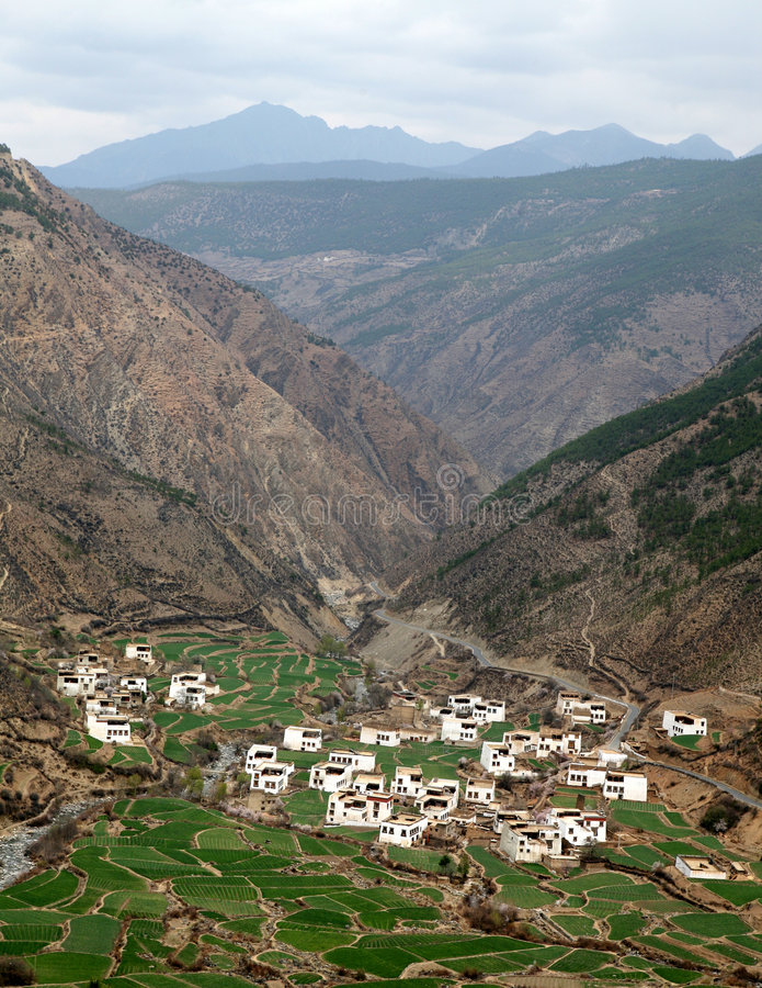 Vila de Tibet imagem de stock
