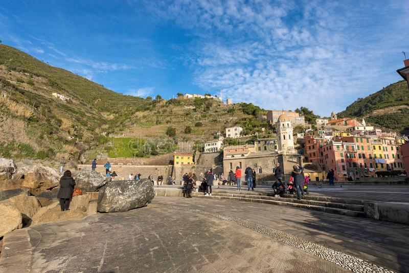 Vila de Vernazza - Cinque Terre - Liguria Itália fotos de stock