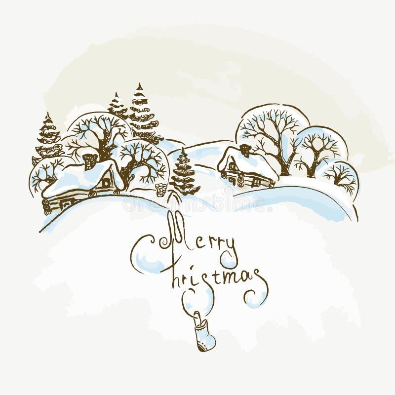 Vila desenhada mão do Natal ilustração do vetor