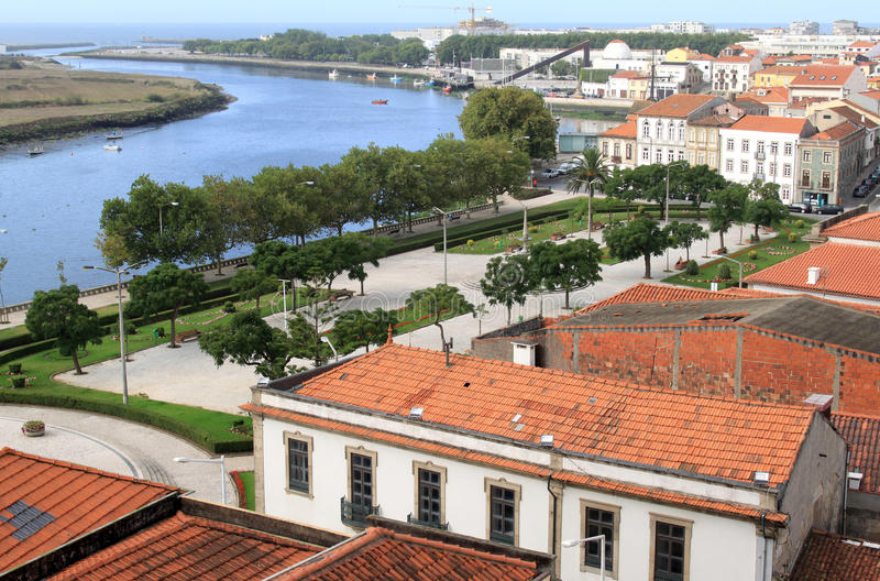 Vila do Conde and Ave river, Portugal. Vila do Conde is a city in the estuary of the Ave river, in the north of Porto metropolitan area in Portugal. The Ave stock images