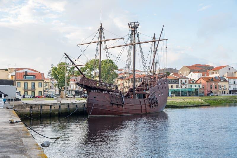Nau Quinhentista Vila do Conde. Vila do Conde, Portugal - June 01, 2018 : Sunny day by the the Portuguese ship of the 16th century round ship Porto district stock photos