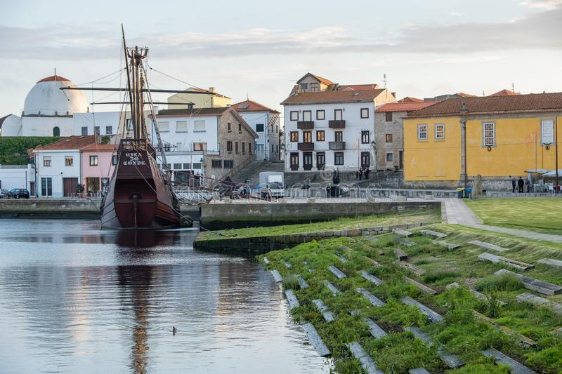 Vila do Conde Portugal. Vila do Conde, Portugal - June 01, 2018 : Sunny day by the the Portuguese ship of the 16th century round ship Porto district, Portugal stock photography